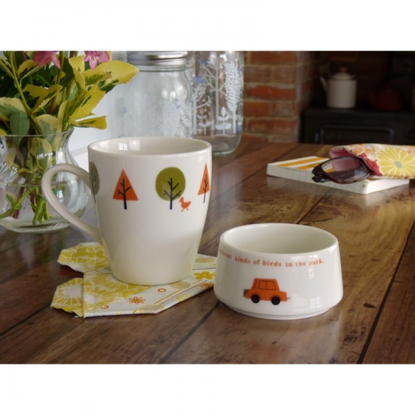 'Drive in the Park' cafe mug in table setting