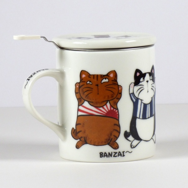 'Banzai' cat design mug with tea strainer and lid