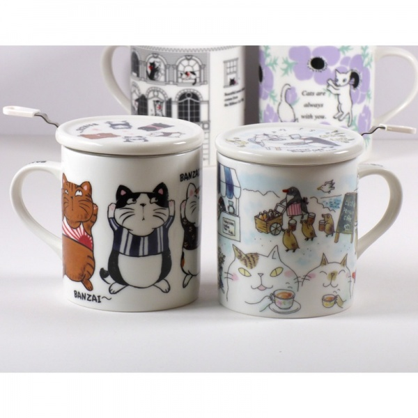 Collection of cat design mugs