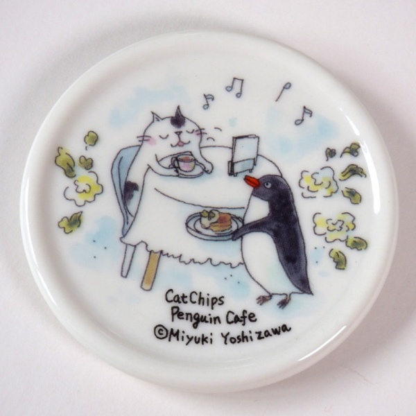 Ceramic Lid of the 'Penguin Café' Cat Mug
