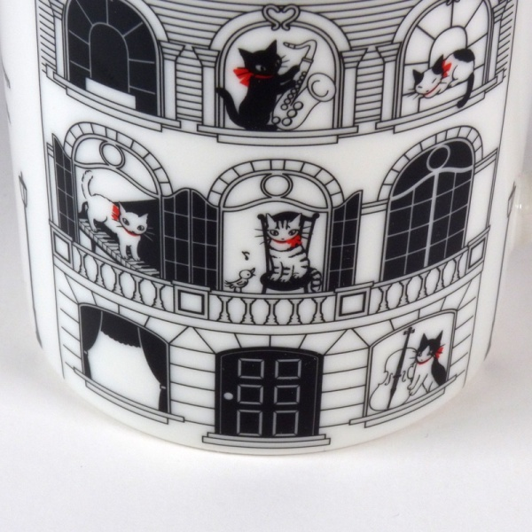 Close up detail of 'Musical Villa' mug