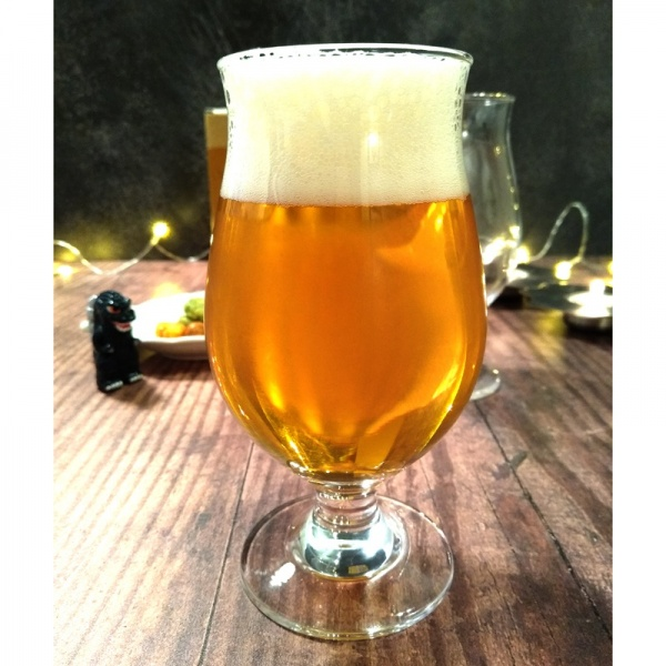 Beer glass containing pilsner on bar