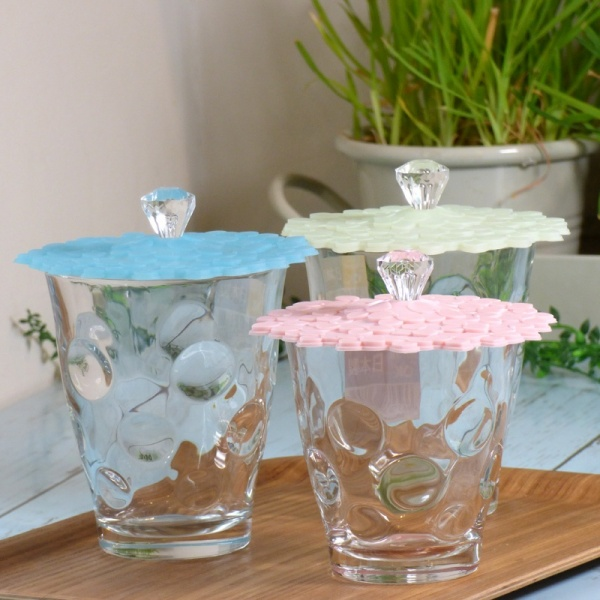 Set of three Hydrangea cup covers on glasses
