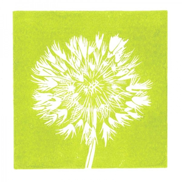Dandelion linocut print in lime green
