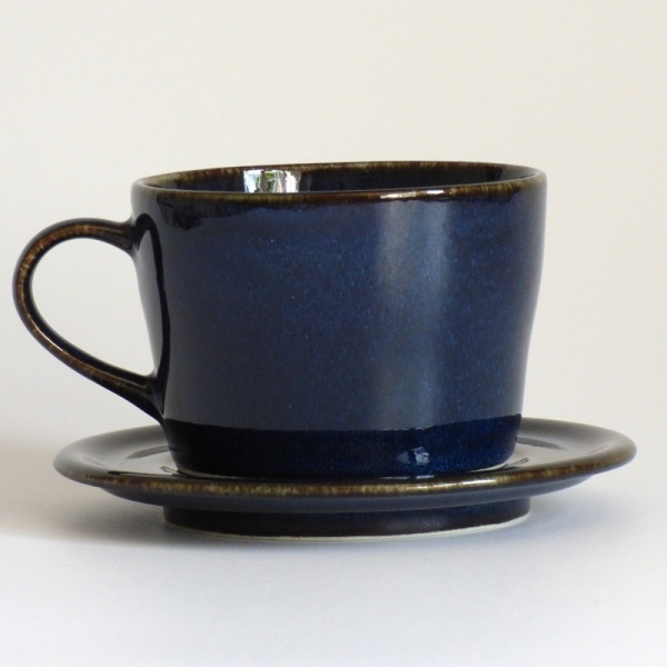 Dark blue Japanese cup and saucer