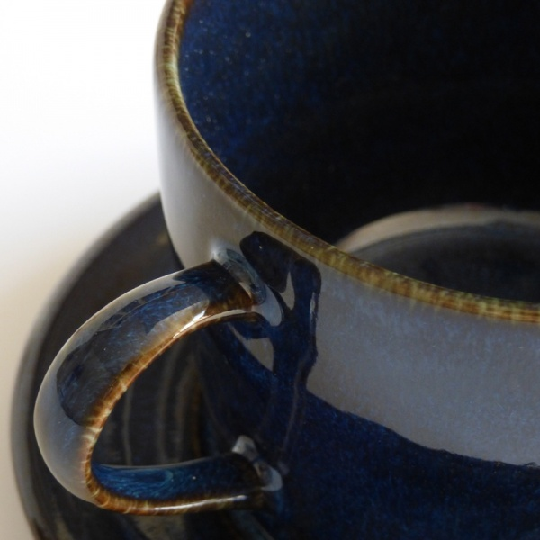 Close up of dark blue glaze