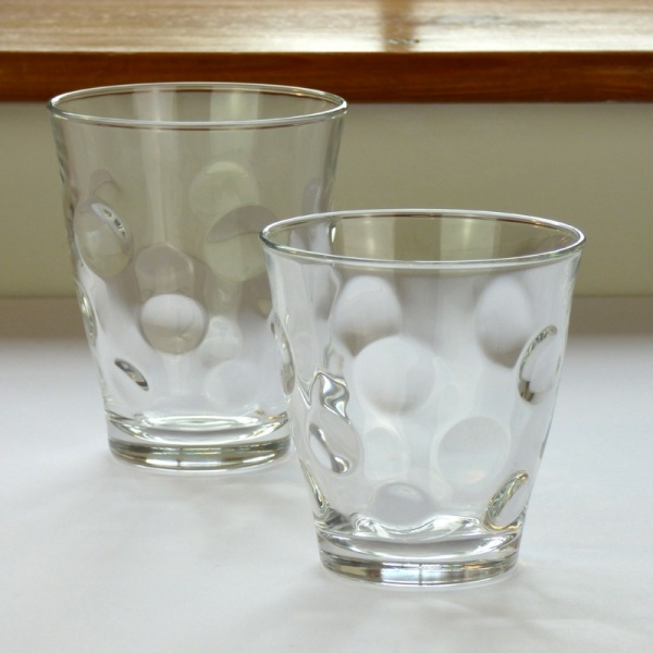 Large and small 'Dot' design glass tumblers