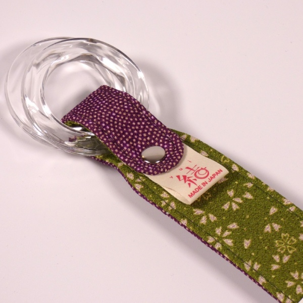 Close up of purple handle for furoshiki cloth