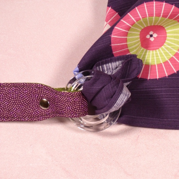 Handle with purple furoshiki cloth