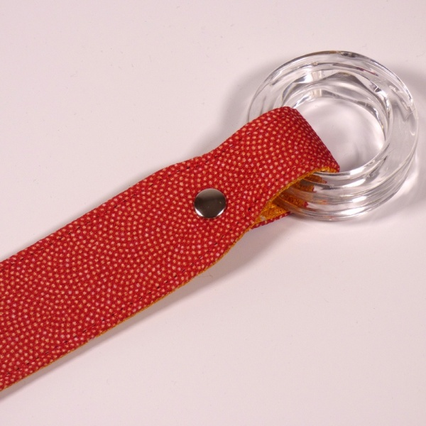 Closeup of red furoshiki handle