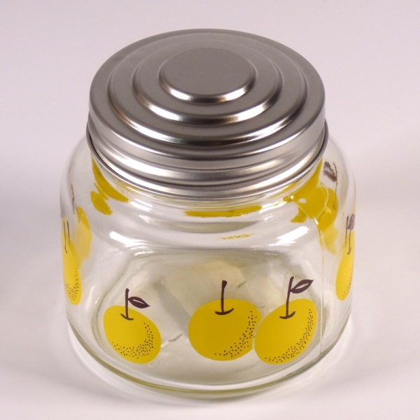 Glass storage jar with retro Japanese Pear design