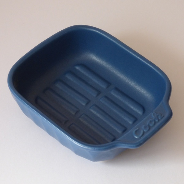 Blue ceramic oven dish without lid