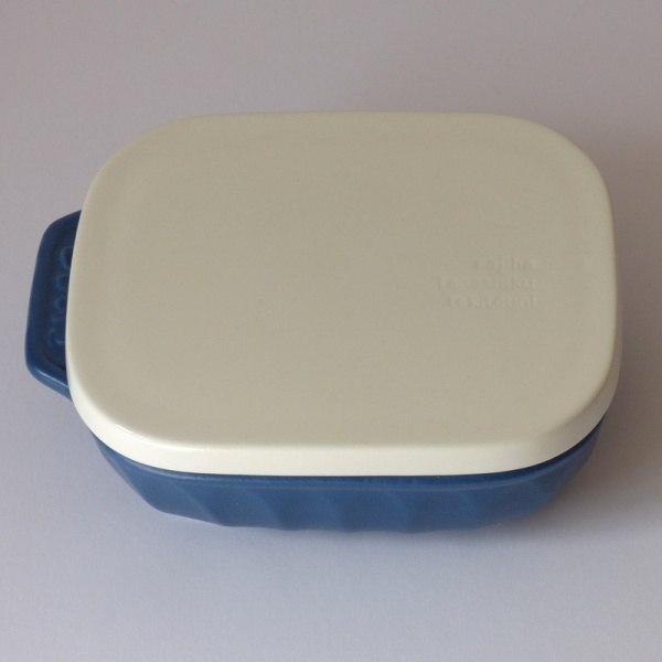 Blue ceramic gratin / grill dish with lid