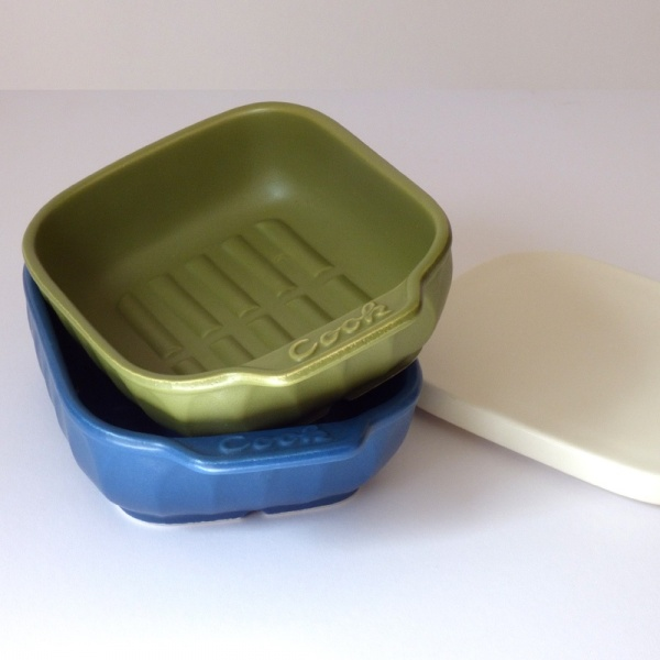 Olive green and blue ceramic oven and grill dishes