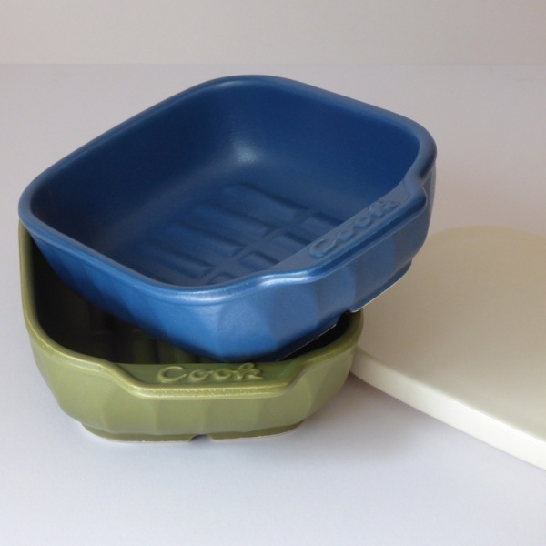 Blue and olive green ceramic oven and grill dishes