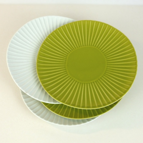 Green and white Hasami ware Japanese ceramic side plates