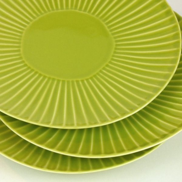 Green Hasami ware Japanese ceramic side plates