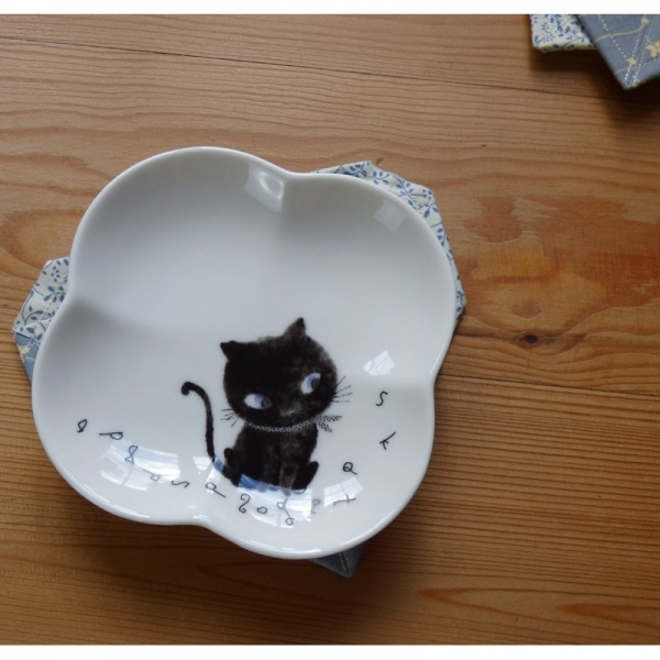 Black Cat plate on coaster