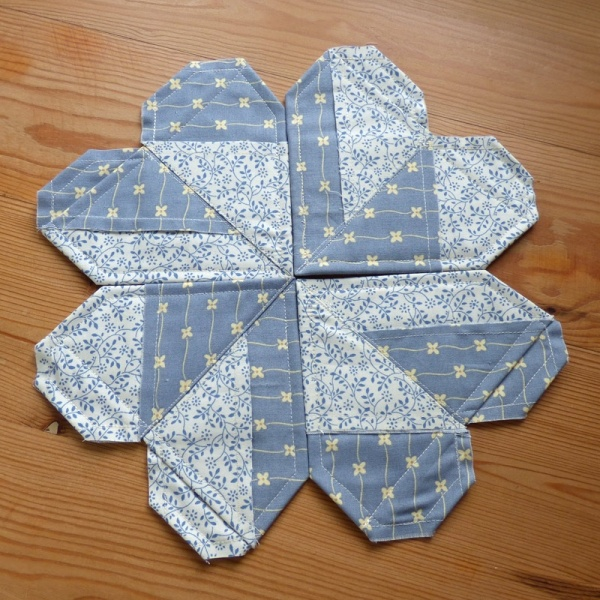 Origami Heart coasters in blue fabric