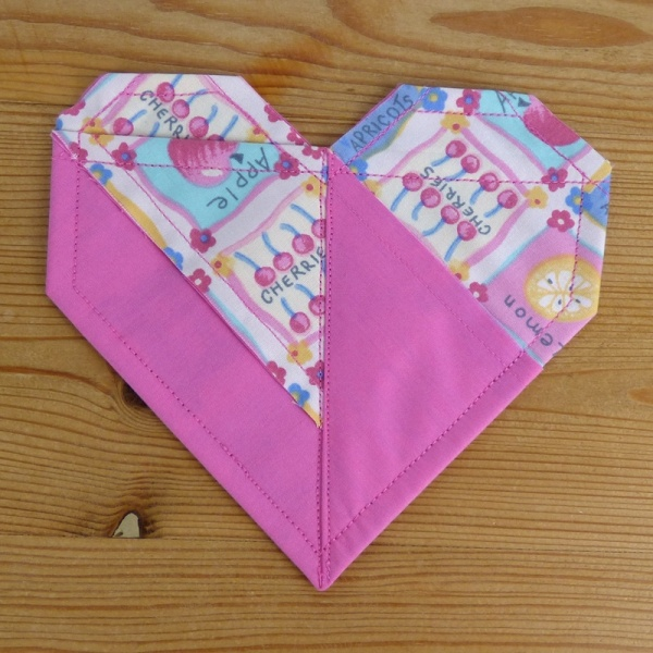 Origami Heart coasters in pink patterned fabrics