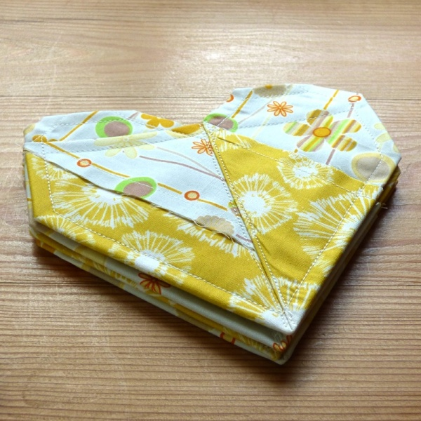 Origami Heart coasters in yellow fabric