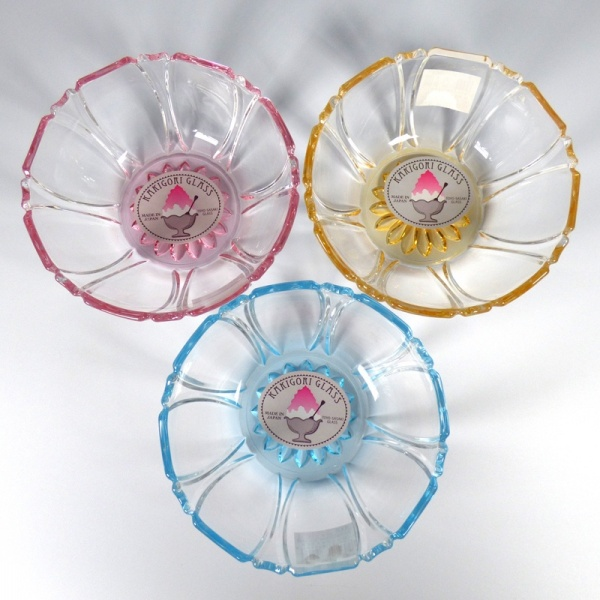 Three coloured glass 'Kakigori' dessert bowls