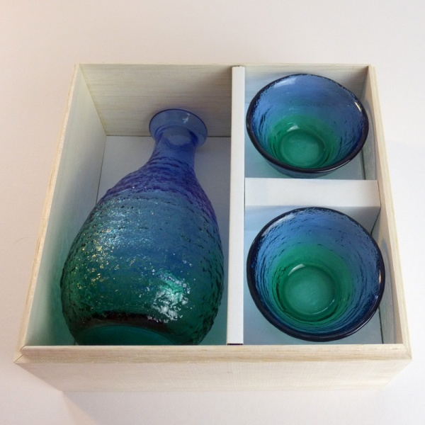 'Ocean' blue green glass sake jug and cups giftbox set