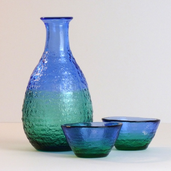 'Ocean' blue green glass sake jug and cups set