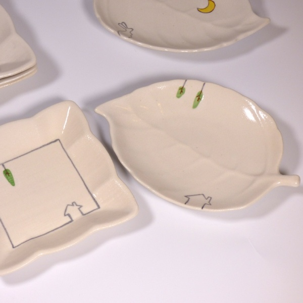 Leaf plates and square mini dishes