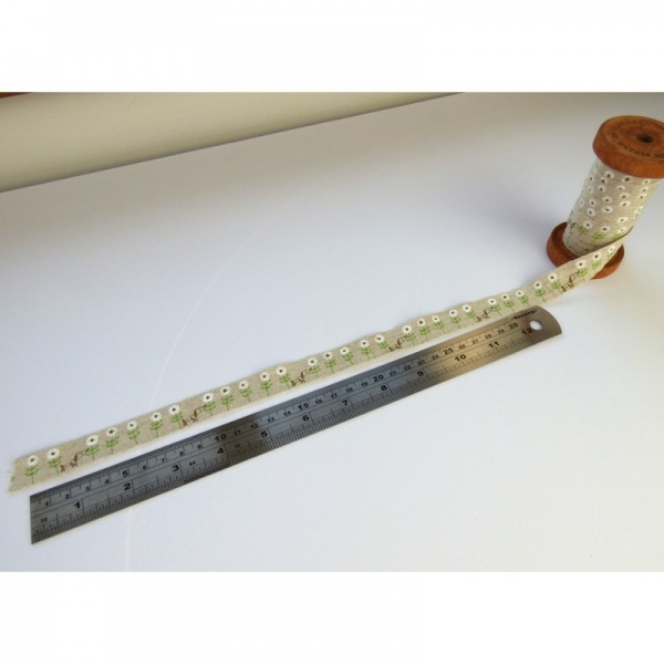 Dog & Daisy linen tape beside ruler