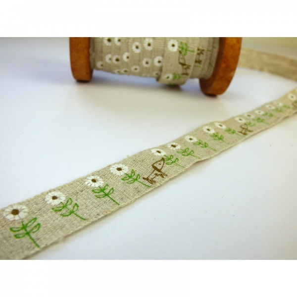 Dog & Daisy linen tape on wooden reel detail