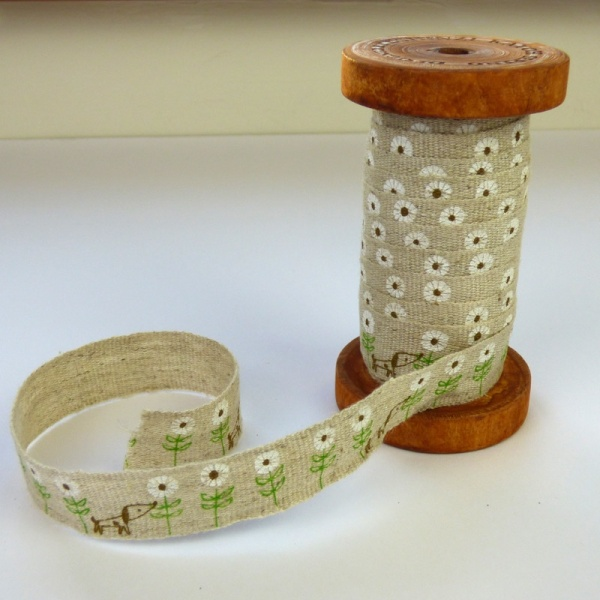 Dog & Daisy linen tape on wooden reel