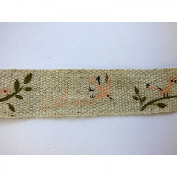 Pink Birds linen tape detail