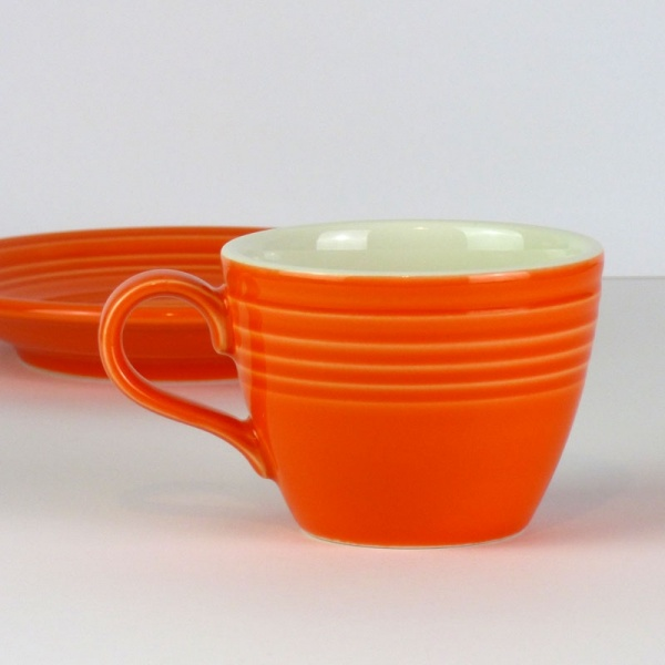 Mandarin orange coffee cup without saucer