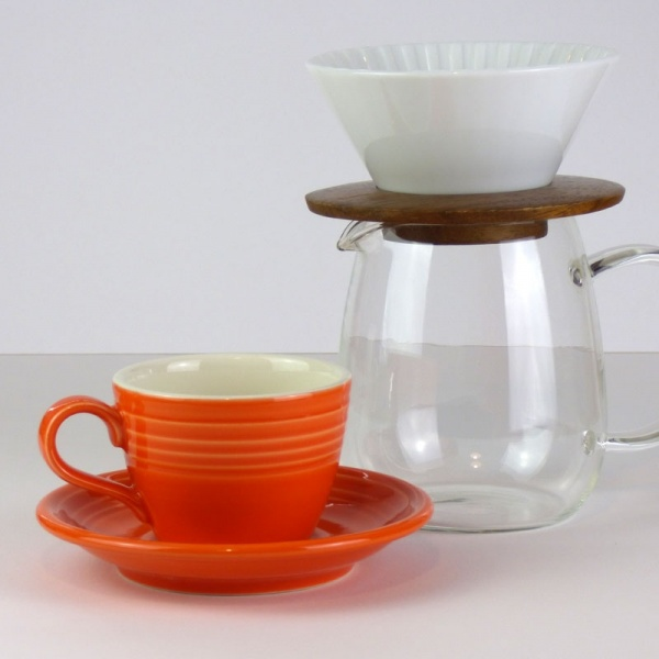 Mandarin orange coffee cup and saucer with glass coffee jug
