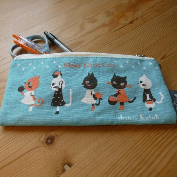 Many Little Cats pencil case - open with contents