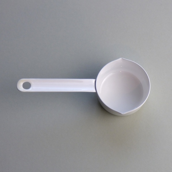 White enamel measuring cup 50ml top view
