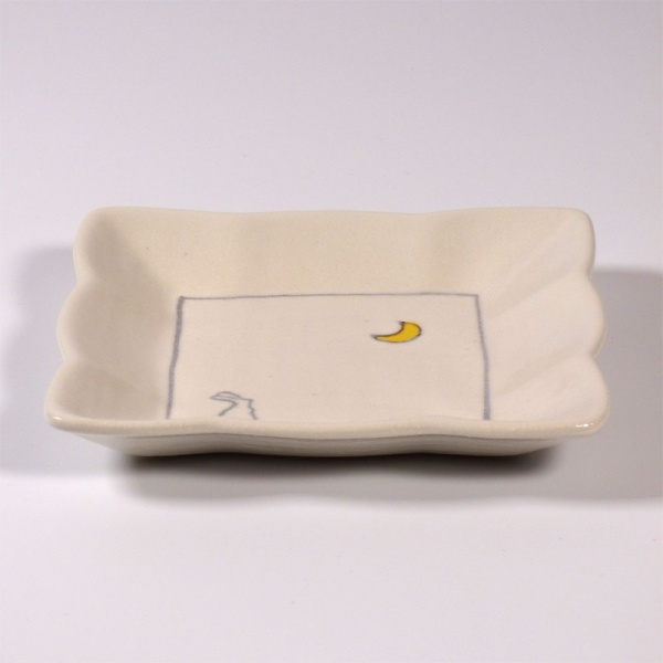 Square mini plate with rabbit and moon design