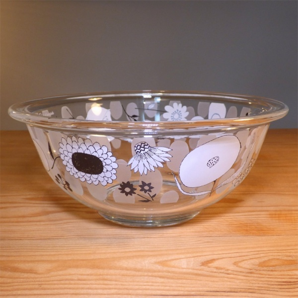 Glass kitchen mixing bowl with floral design by Shinzi Katoh