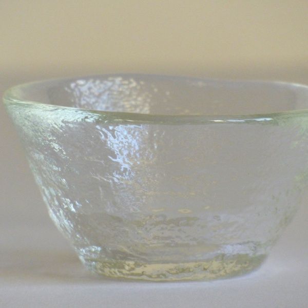Mount Fuji textured glass sake sipping cup close up