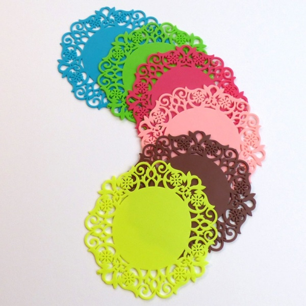 Silicone lace pattern coasters in multiple colours