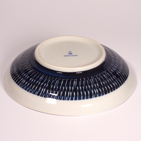 Underside of Large Navy and White Tobikanna Bowl