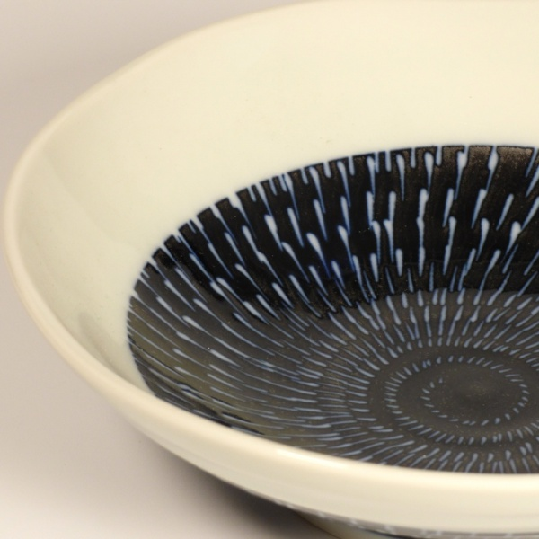 Close up detail of Underside of Medium Navy and White Tobikanna Bowl