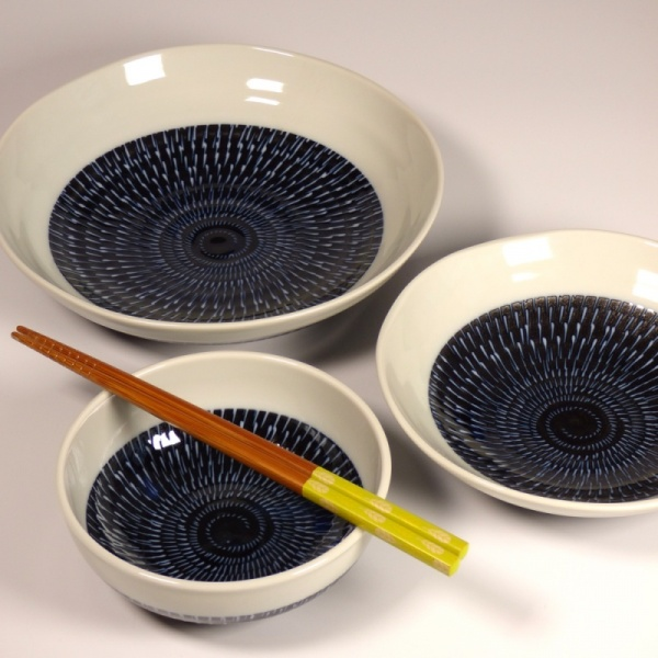 Set of 3 Navy and White Tobikanna Bowls