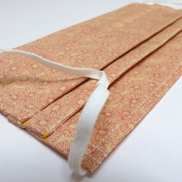 Soft elastic on peach chrysanthemum pattern face mask