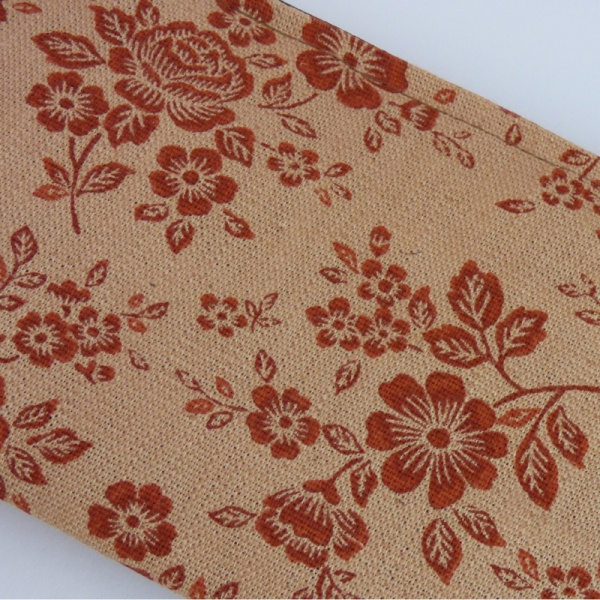 Close up of canvas zip bag with floral design