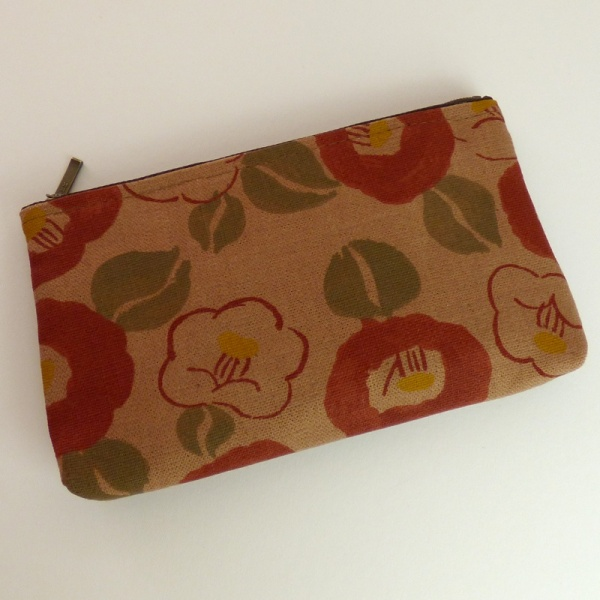 Canvas Zip Bag with Camellia Design