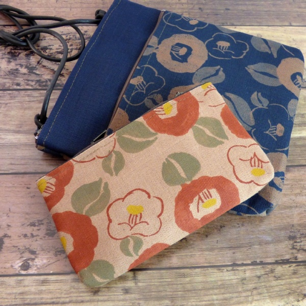 Canvas zip bag with Camellia design with matching pochette handbag