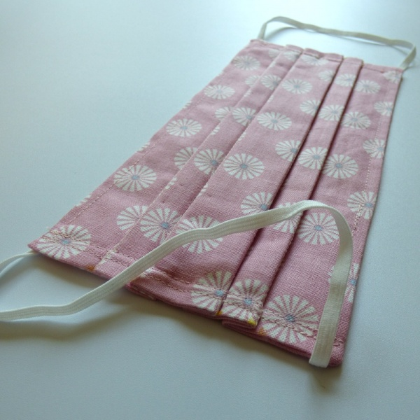 Soft elastic on pink Japanese cotton face mask