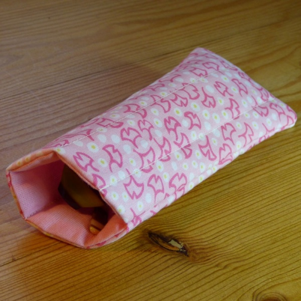 Handmade quilted glasses case in pink ginkgo print